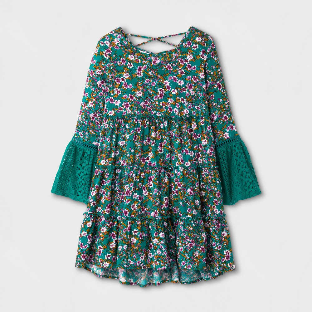Girls A-Line Dress - Art Class Green M