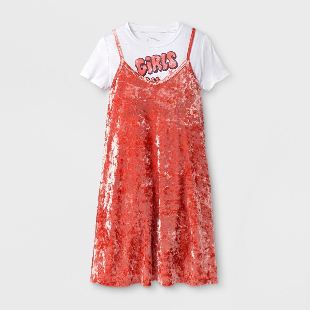 Girls' Velvet Slip Dress Art Class - Faded Rose XS, Pink
