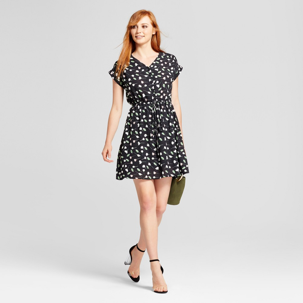 Womens Printed V-Neck Dress - Layered with Love Black M, Black Green White