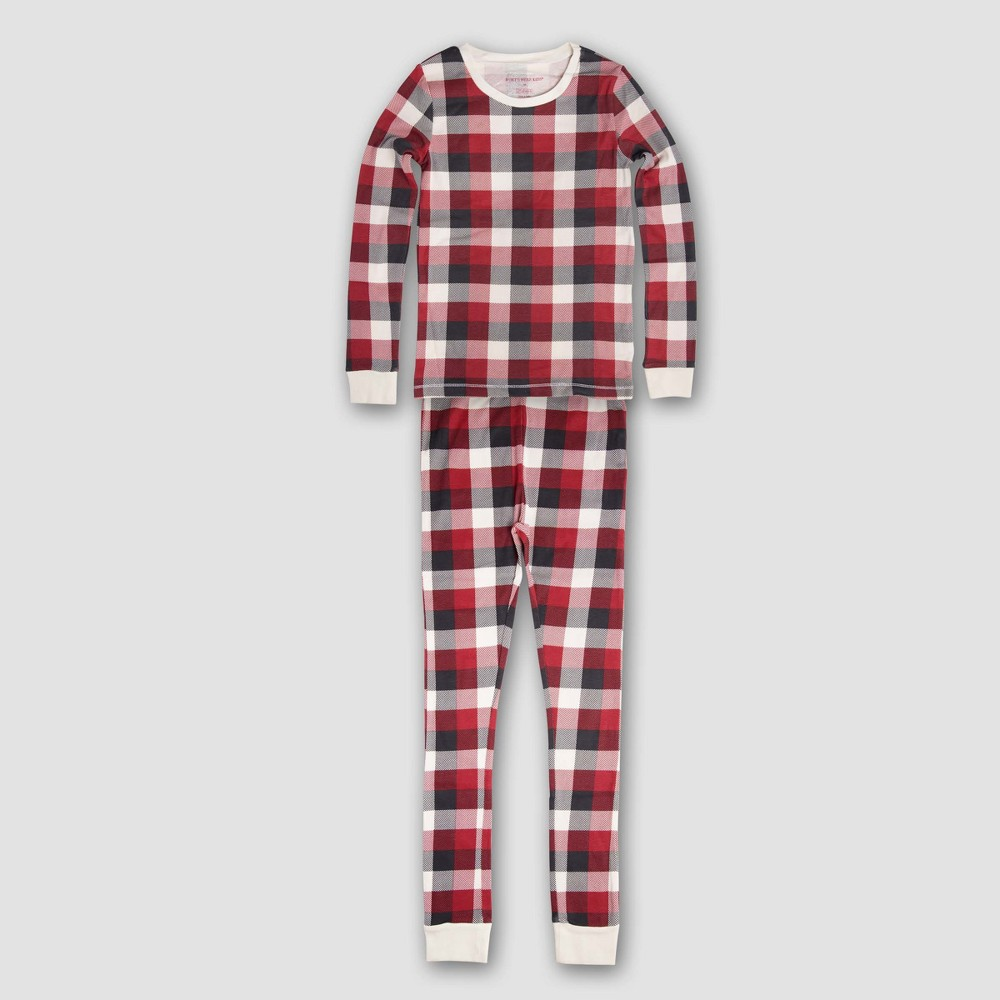 Burts Bees Baby Kids Organic Cotton Buffalo Plaid Pajama Set - Ivory XL, Infant Unisex, Pink