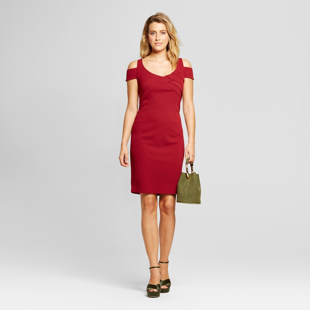 Womens Cold Shoulder Scuba Crepe Dress - Spenser Jeremy Wine 8, Red