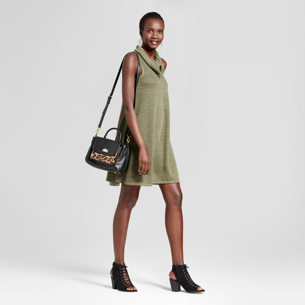 Womens Cowl Neck Knit Tank Dress - Spenser Jeremy Forest Fern M, Green