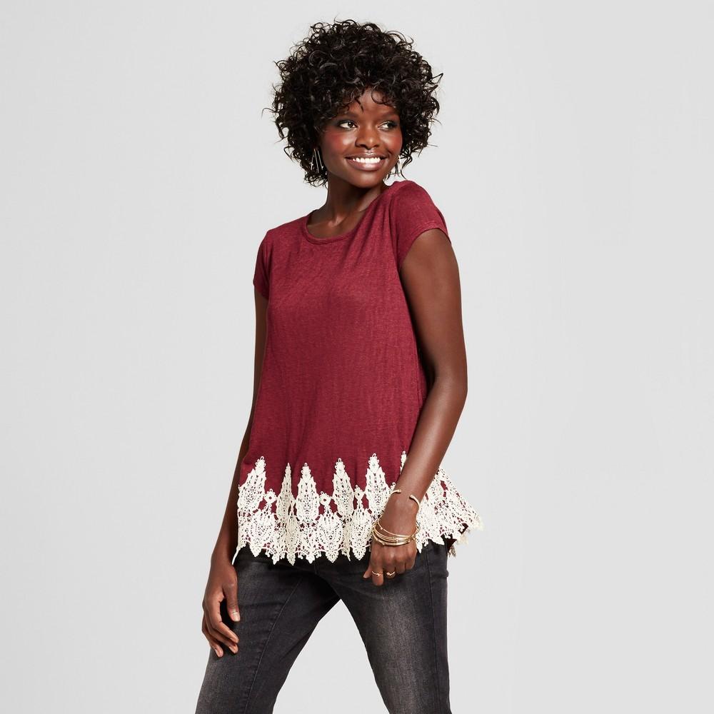 Womens Lace-Trim T-Shirt - Xhilaration (Juniors) Berry (Pink) XL