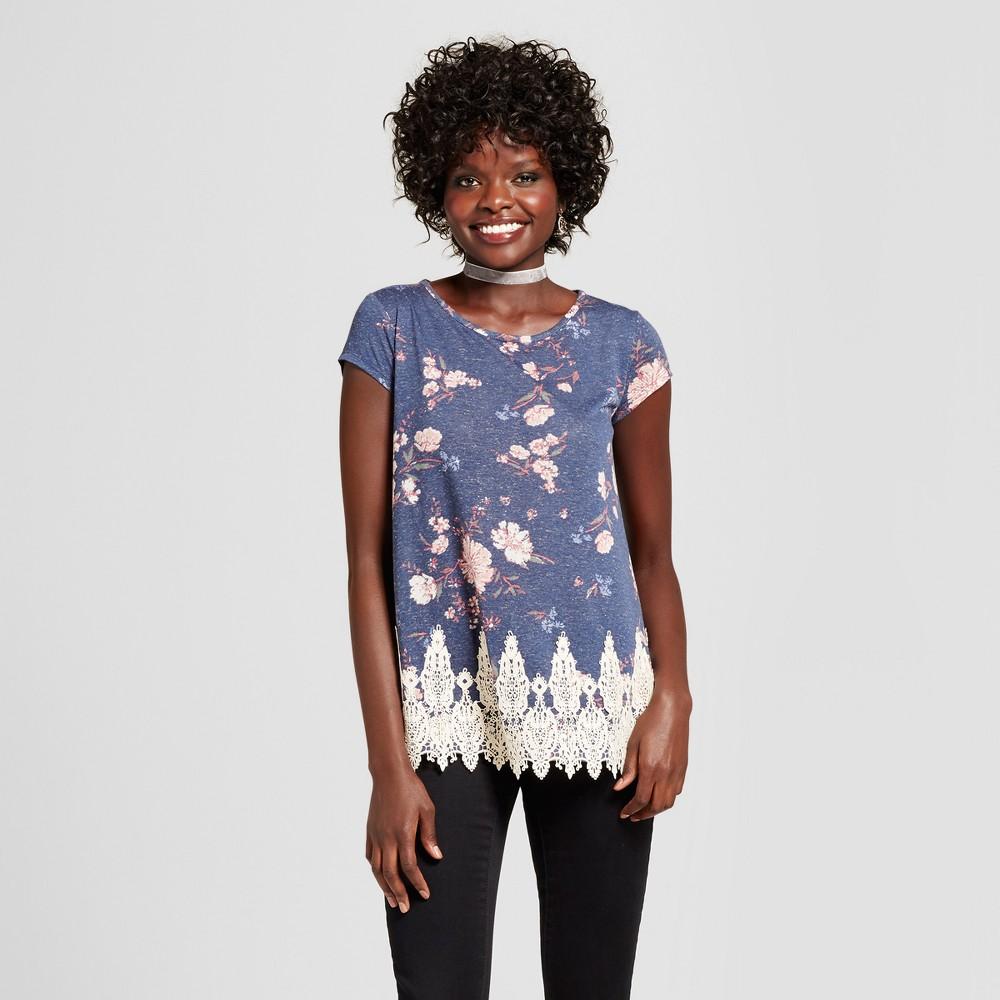 Womens Lace-Trim T-Shirt - Xhilaration (Juniors) Navy (Blue) M