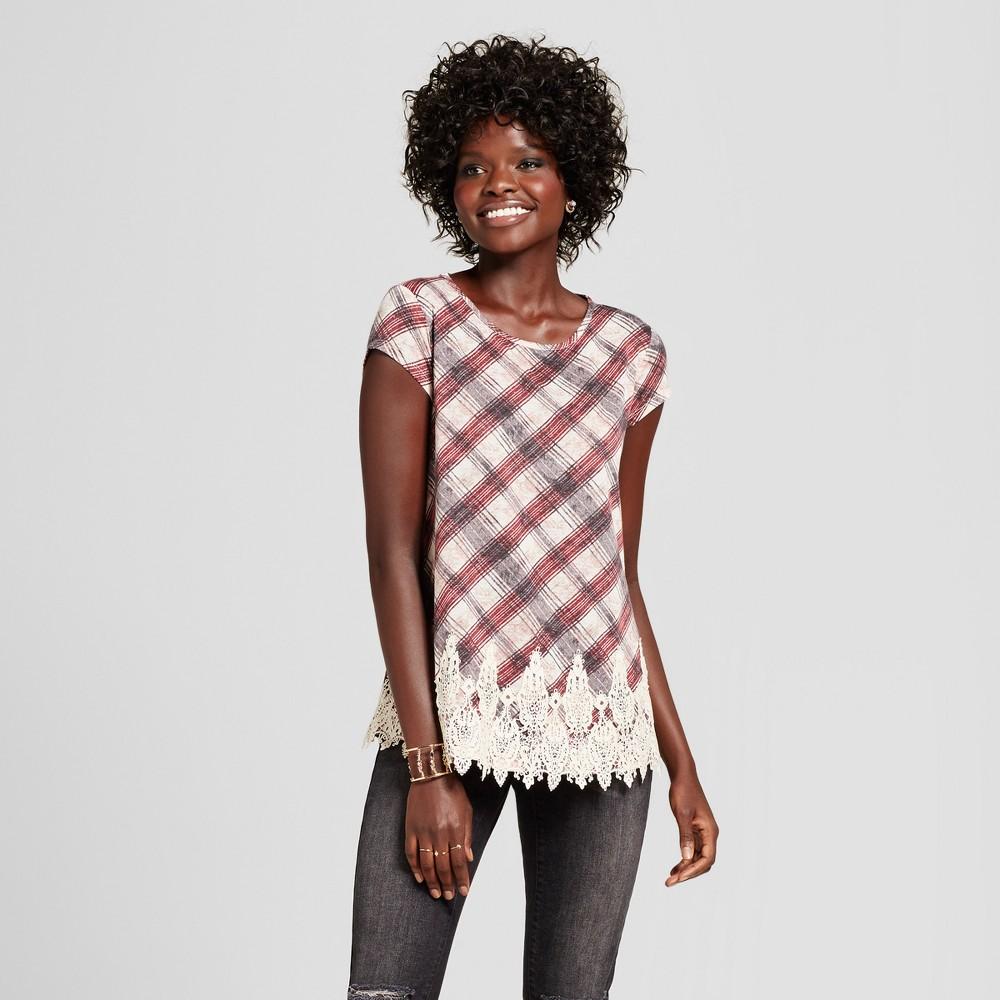 Womens Lace-Trim T-Shirt - Xhilaration (Juniors) Mulberry (Pink) XS