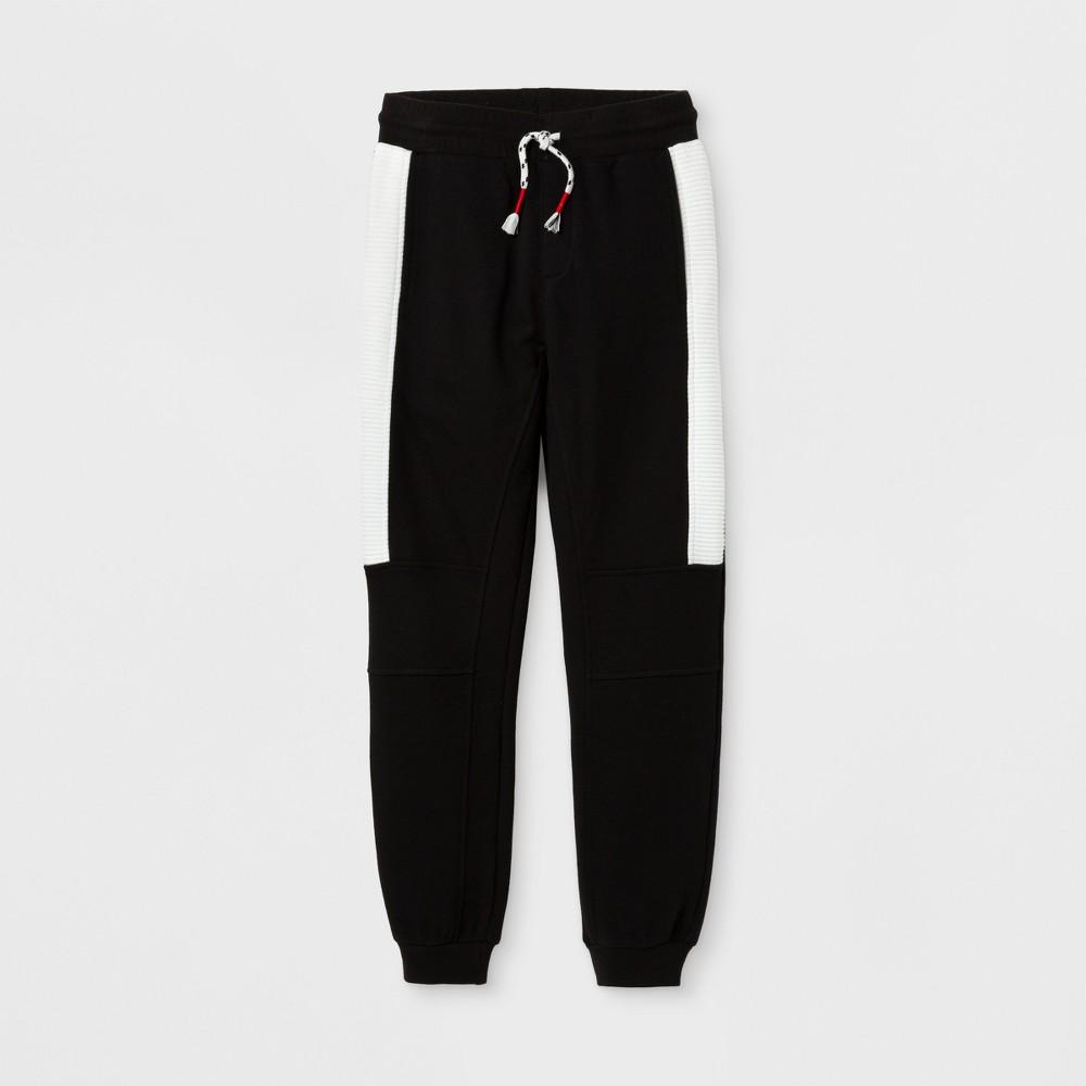 Boys Sporty Knit Jogger Pants - Art Class Black/White L