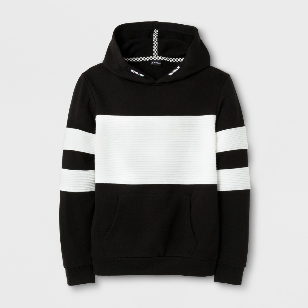 Boys' Sporty Long Sleeve Hooded Sweatshirt - Art Class Black/White M