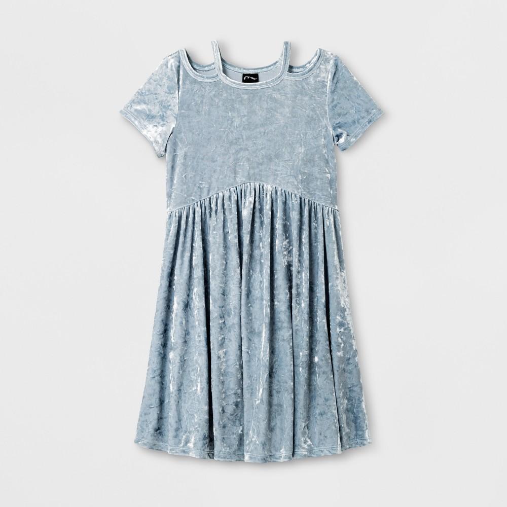 Girls Velvet Dress Art Class - Celestial Blue L