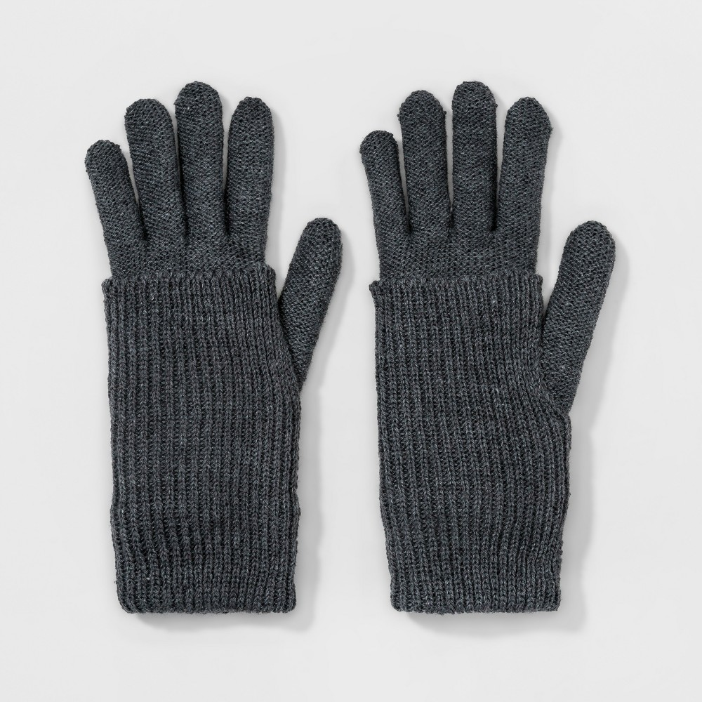 Womens Double Layer Plush Knit Glove - A New Day Heather Gray