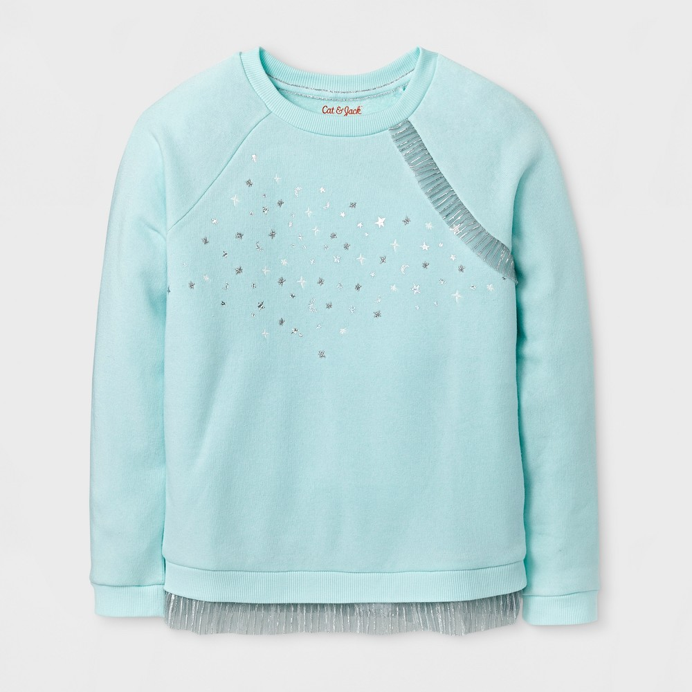 Girls Pullover Sweatshirt - Cat & Jack Aqua L, Green