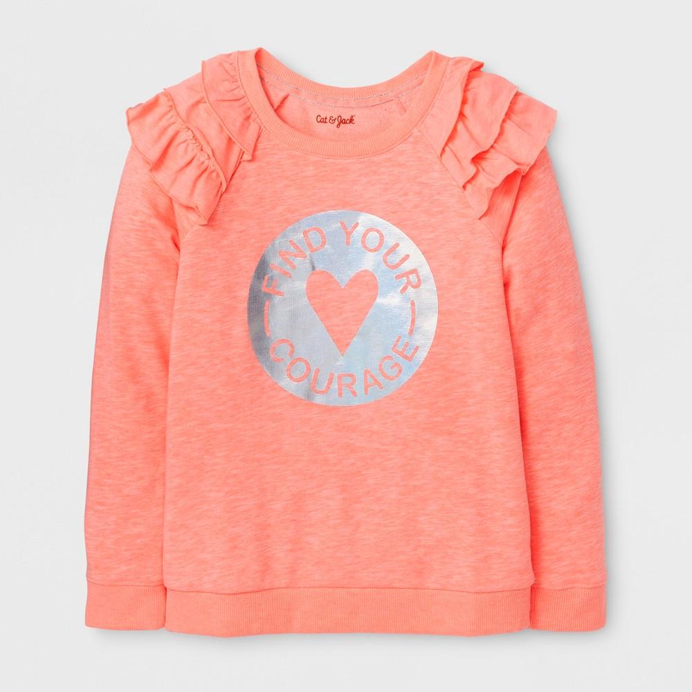 Girls Pullover Sweatshirt - Cat & Jack Peach M, Orange
