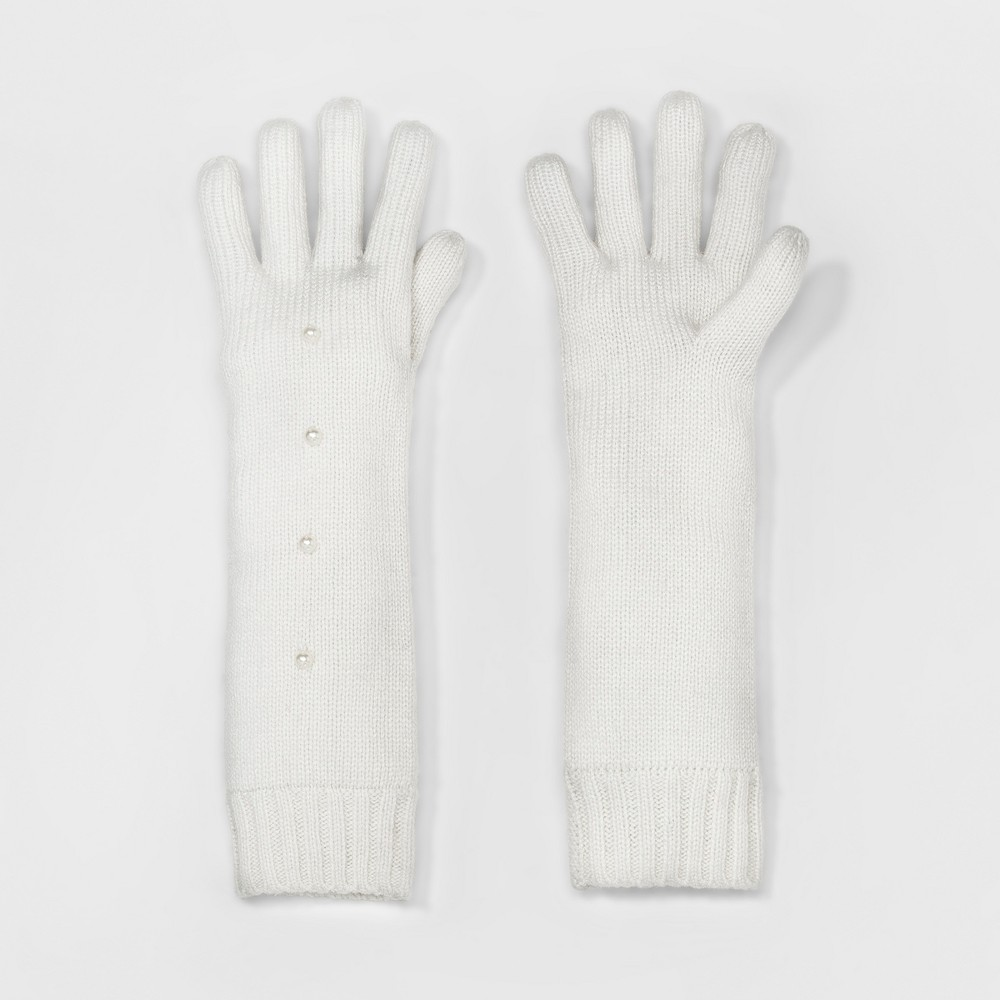 Womens Knit Glove with Faux Pearls - A New Day Off White
