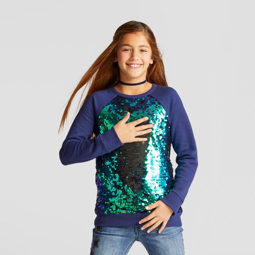 Girls Sequin Pullover Sweatshirt - Cat & Jack Navy M, Blue