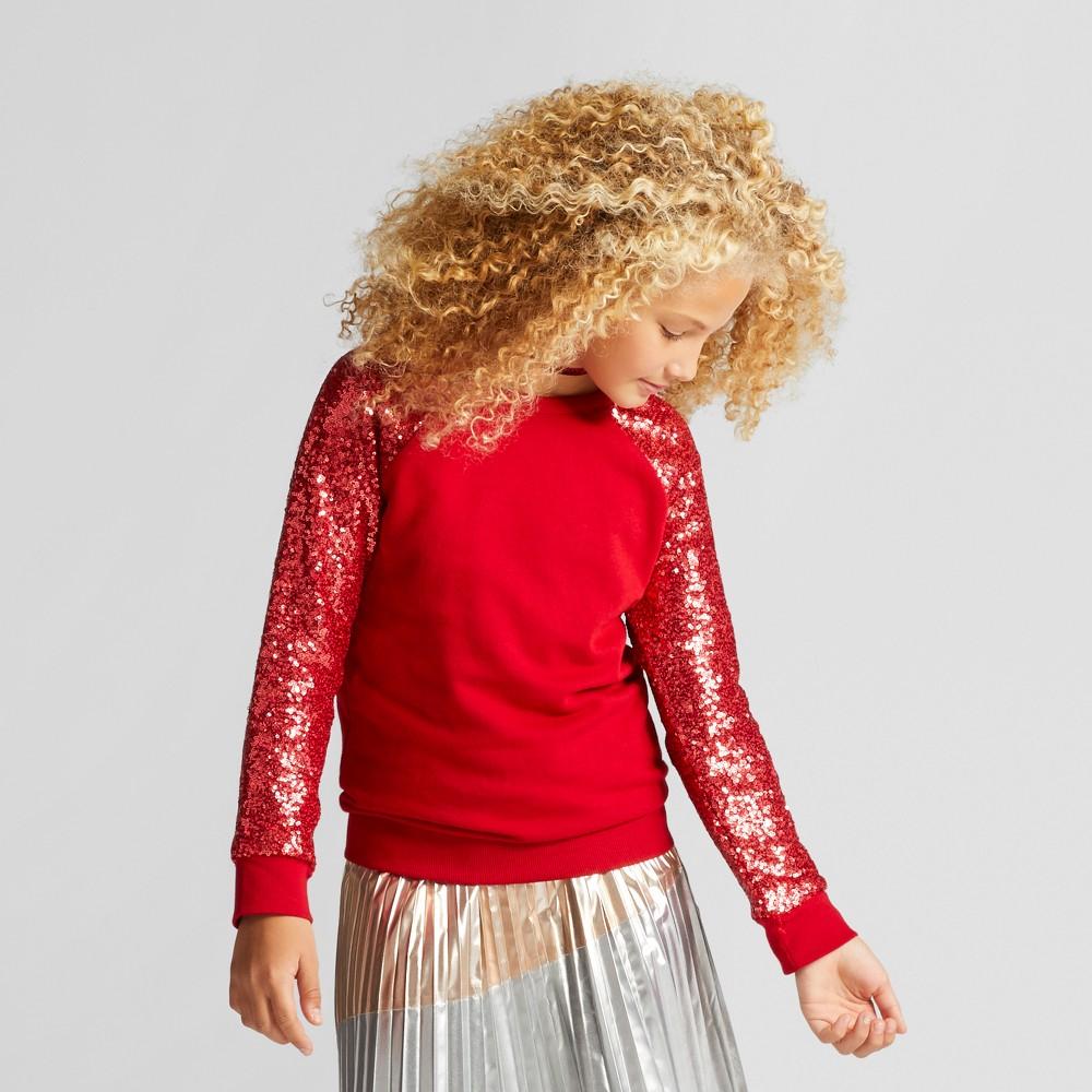 Girls Sequin Pullover Sweatshirt - Cat & Jack Red L