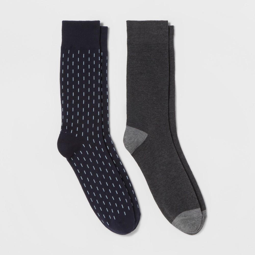 Mens Crew Dress Socks With vertical Bars - Goodfellow & Co Navy (Blue) 10-13
