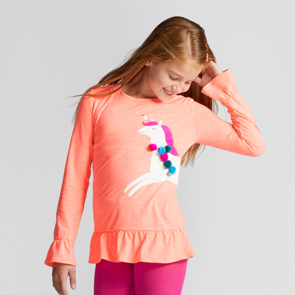 Girls Long Sleeve Unicorn Graphic T-Shirt - Cat & Jack Peach S, Orange