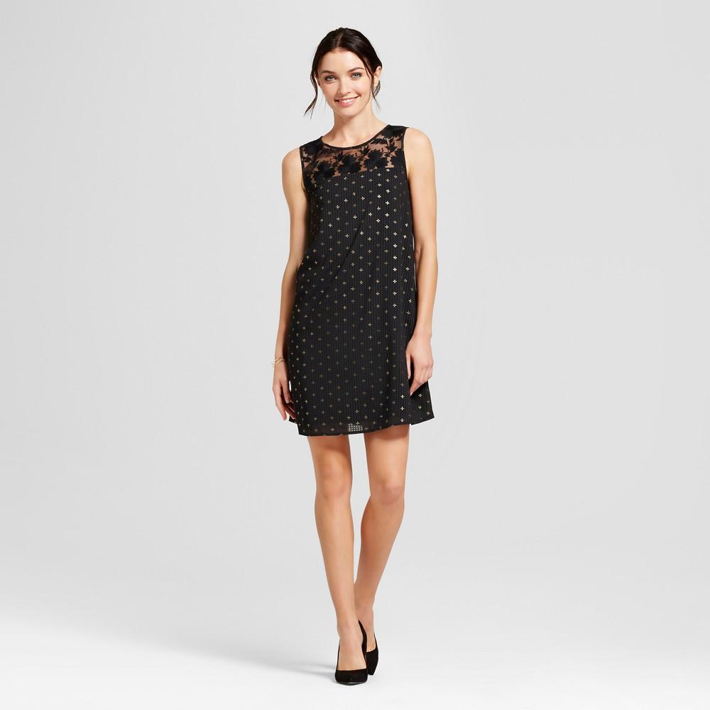 Womens Foil Shift Dress - A New Day Black L