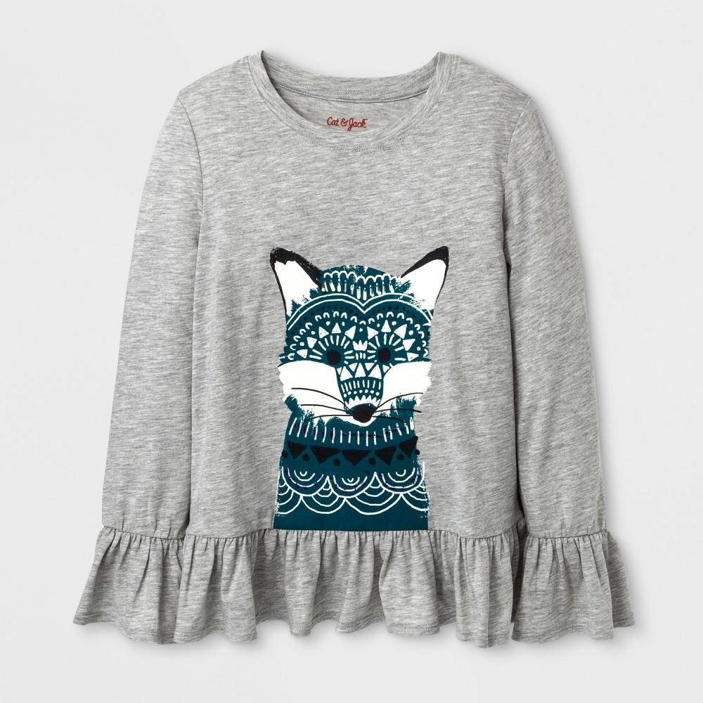 Girls Long Sleeve Fox Graphic T-Shirt - Cat & Jack Heather Gray M