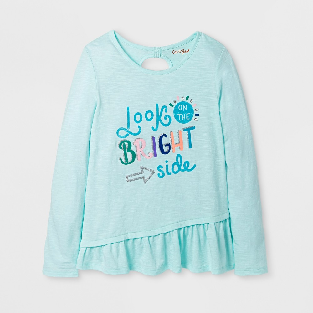 Girls Long Sleeve Look On The Bright Side Graphic T-Shirt - Cat & Jack Aqua L, Green