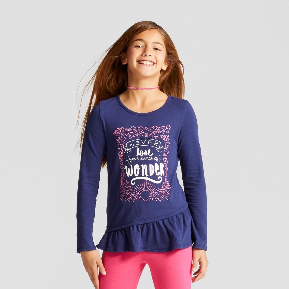 Girls Long Sleeve Graphic T-Shirt - Cat & Jack Blue L