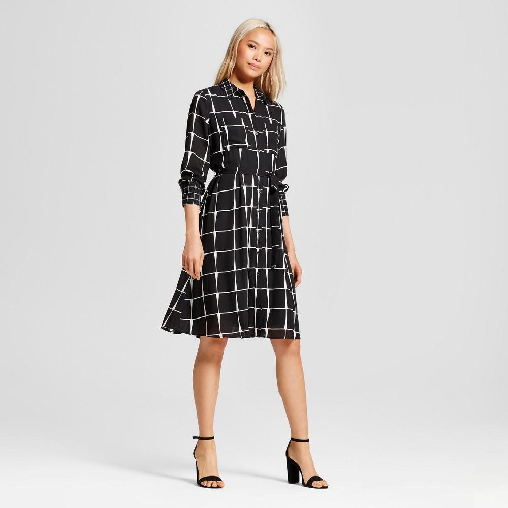 Womens Ruffle Hem Shirt Dress - Who What Wear Black Plaid XS