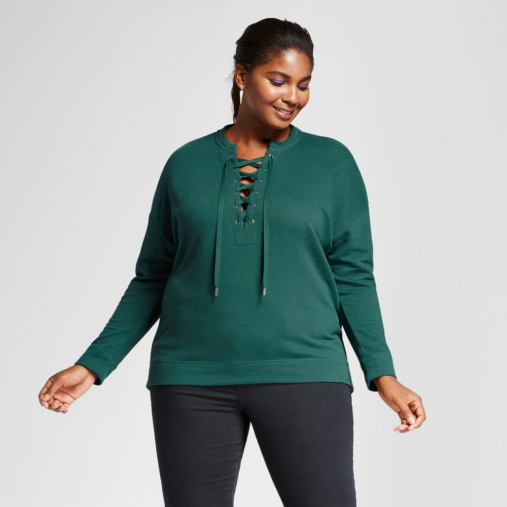 Womens Plus Size French Terry Lace-Up Top - Ava & Viv Green 1X