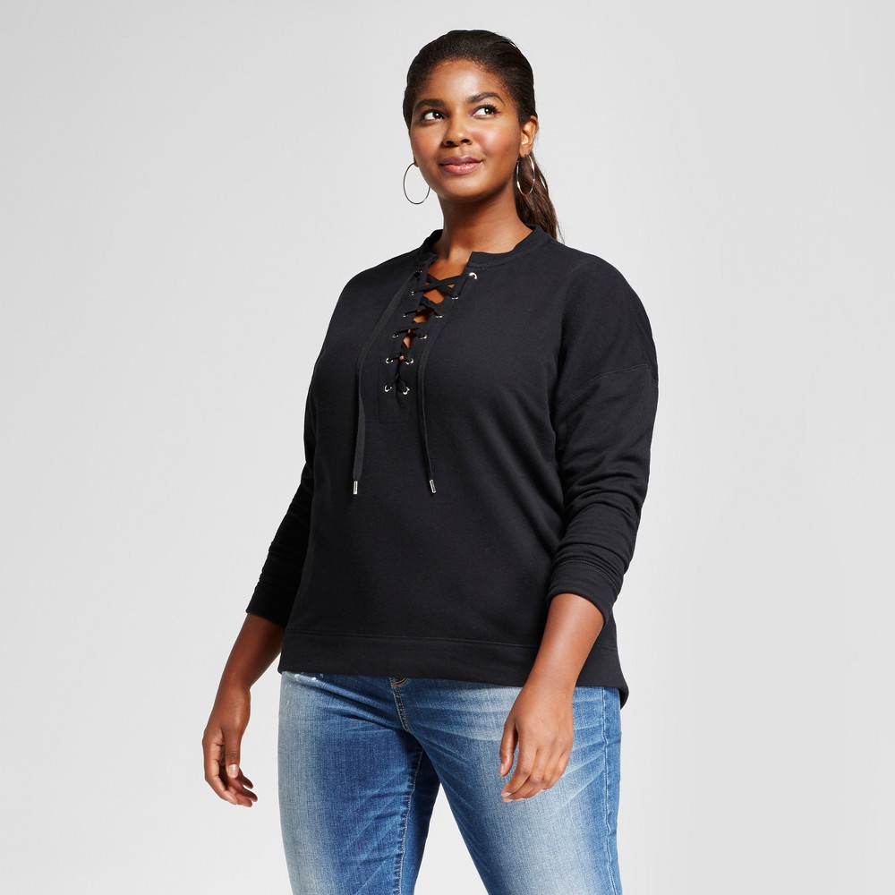 Womens Plus Size French Terry Lace-Up Top - Ava & Viv Black X