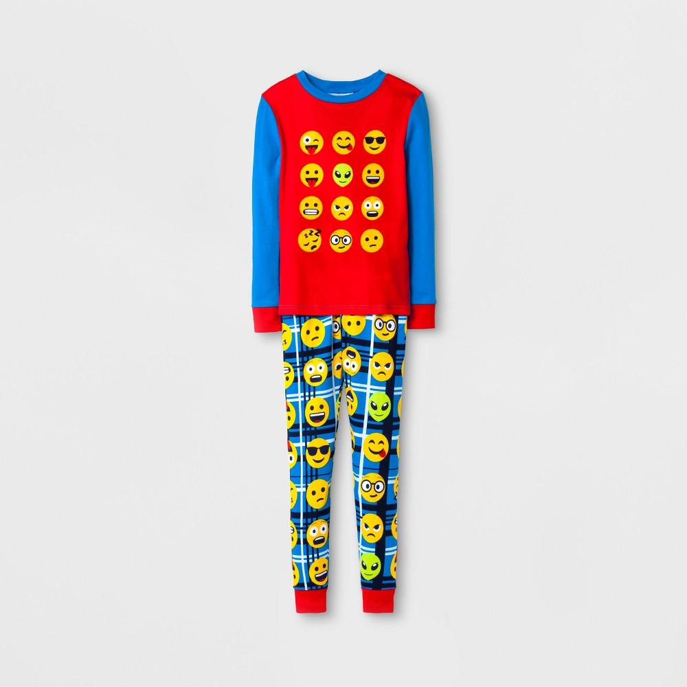 Boys Emoji 4 Piece Pajama Set - Turquoise M, Size: 6, Blue