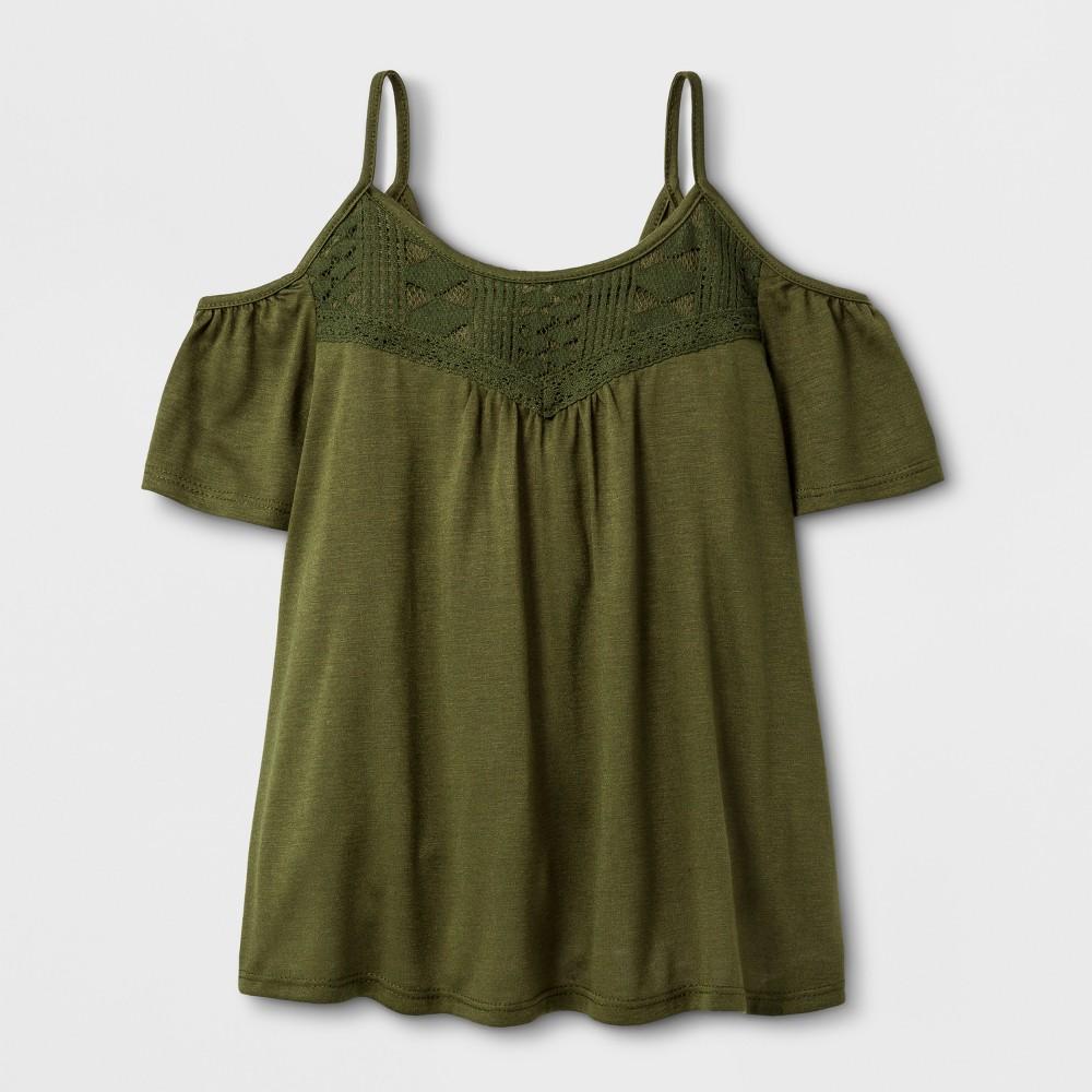 Girls Cold Shoulder Knit T-Shirt - Art Class Winter Moss XS