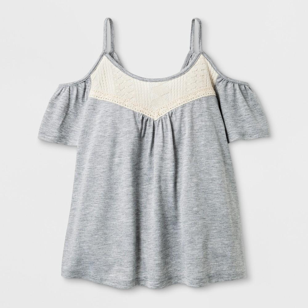 Girls Cold Shoulder Knit T-Shirt - Art Class Heather Gray L