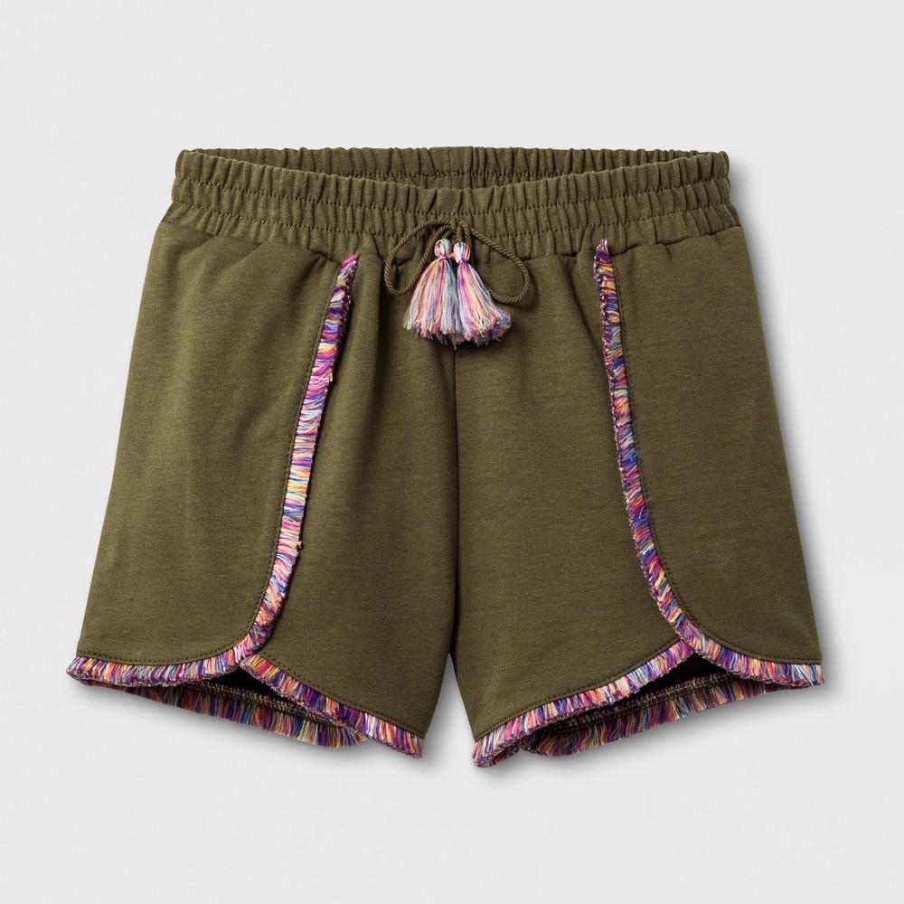Girls Fringe Knit Shorts - Art Class Winter Moss XL, Green