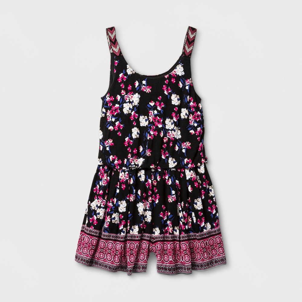 Girls Sleeveless Knit Rompers Art Class - Black/Cherry XS, Red