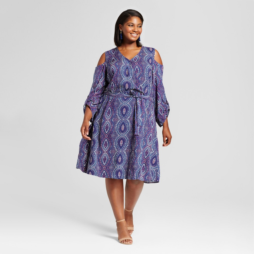 Womens Plus Size Cold Shoulder Wrap Dress - U-Knit Blue 3X