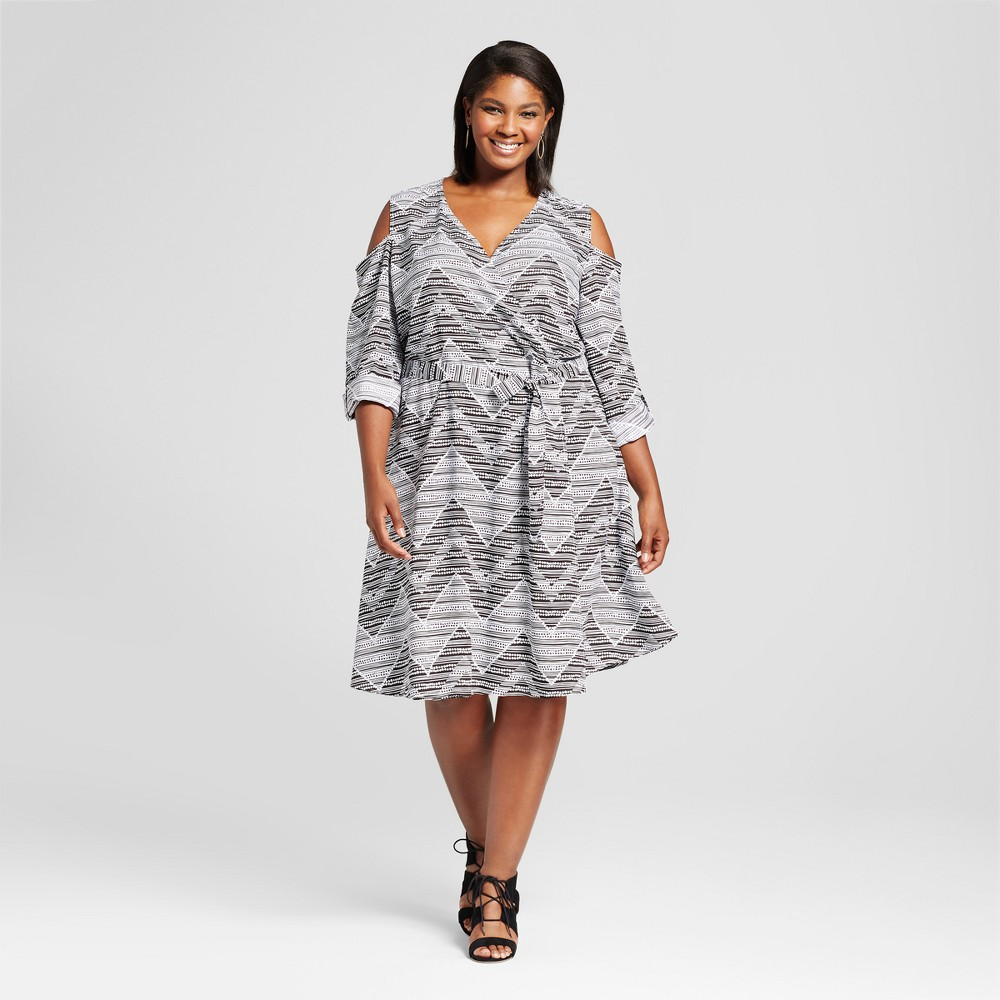 Womens Plus Size Chevron Cold Shoulder Wrap Dress - U-Knit Black 2X