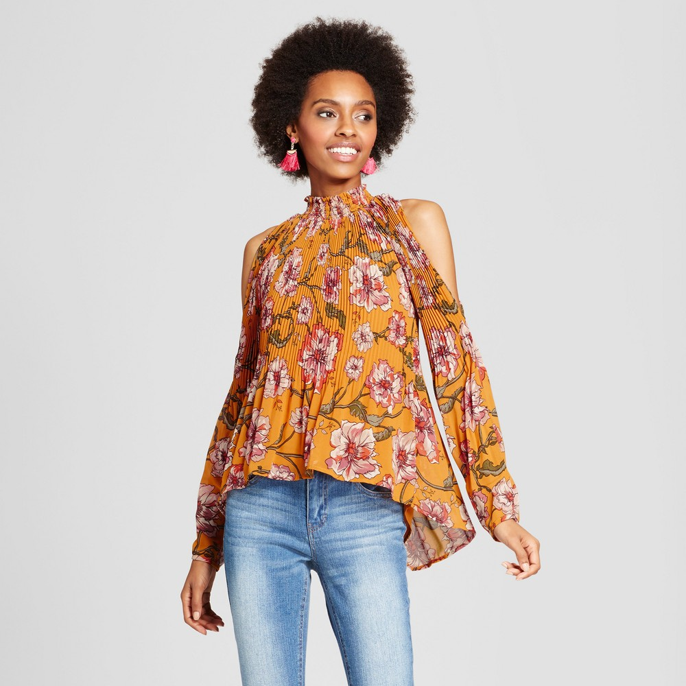Womens Floral Pleated Mock Neck Cold Shoulder Blouse - Xoxo (Juniors) M, Multicolored
