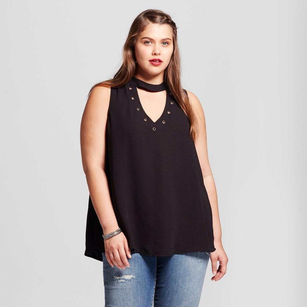 Womens Plus Size Tie Neck Blouse - Born Famous (Juniors) - Black 1X