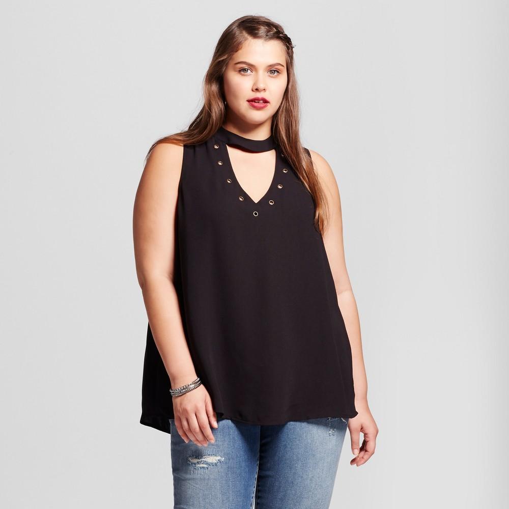 Womens Plus Size Tie Neck Blouse - Born Famous (Juniors) - Black 2X