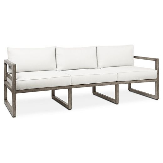 Monaco Sofa-Brushed - Antique White - Real Flame