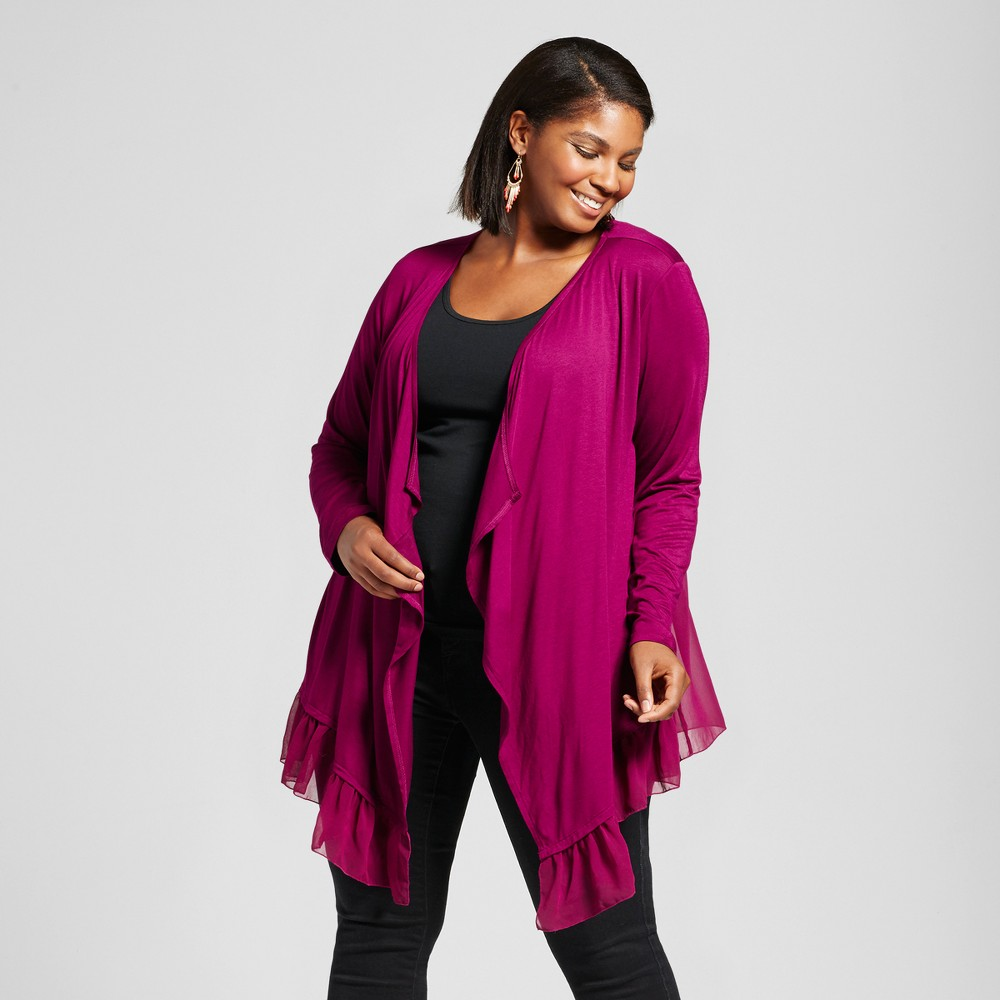 Womens Plus Size Chiffon Detail Open Front Cardigan - U-Knit - Red 2X