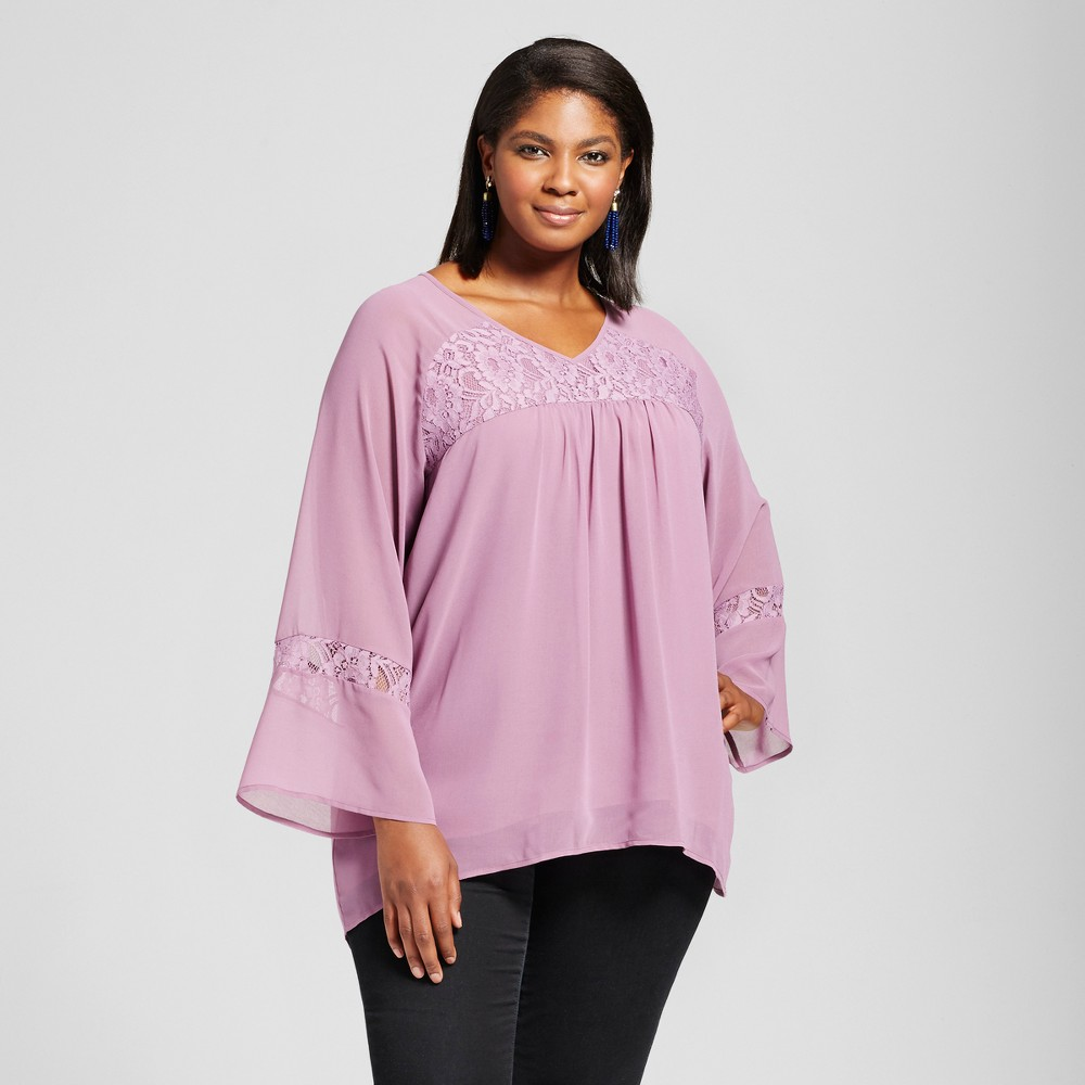 Womens Plus Size Lace Trim Blouse - U- Knit - Purple 2X