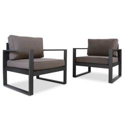 Baltic 2pk Metal Patio Chair Set - Black - Real Flame