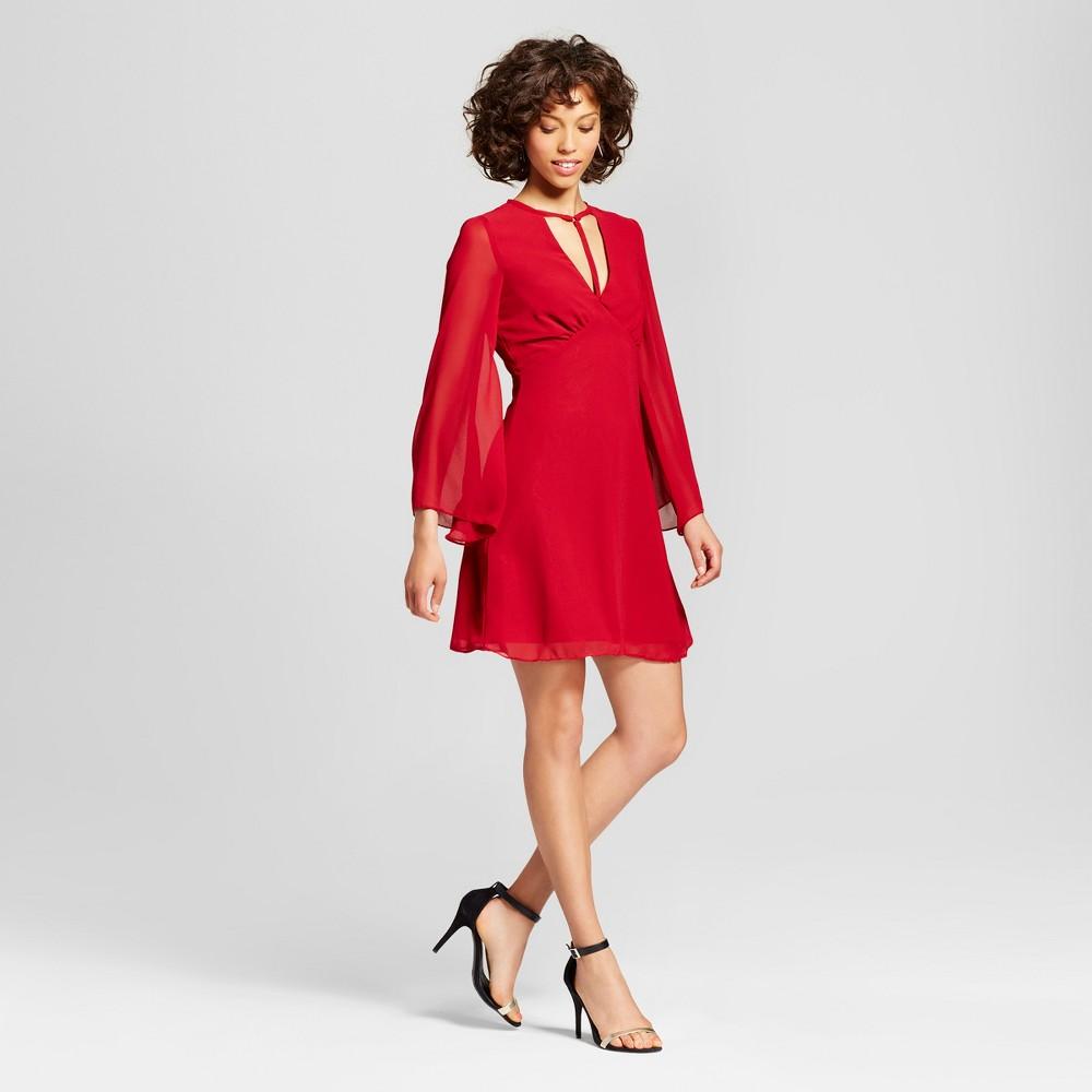 Womens T-Strap V-Neck Long Sleeve Dress - Xoxo (Juniors) Red S