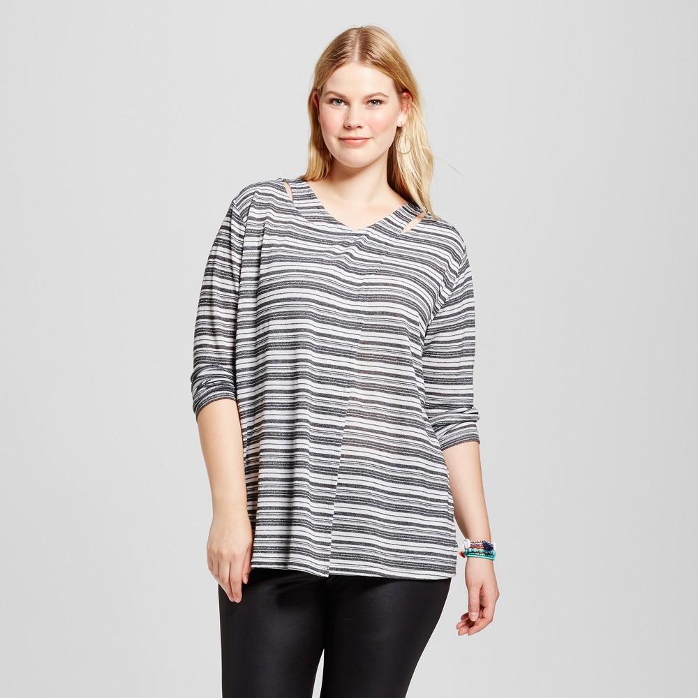 Women's Plus Size Striped Cut Out Top - U-Knit Black 2X