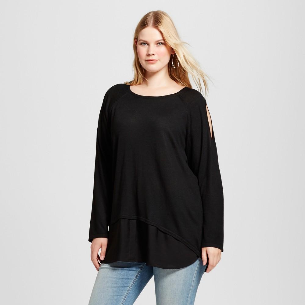 Womens Plus Size Cold Shoulder Sweater - U-Knit Black 3X