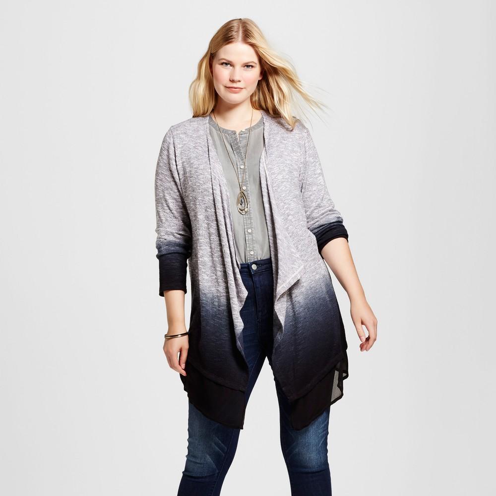 Womens Plus Size Dip Dyed Cardigan - U-Knit Black 3X
