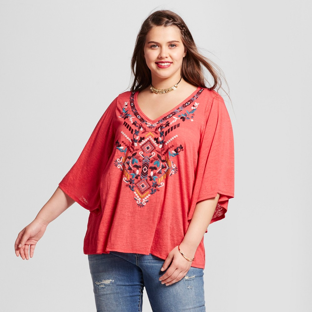 Womens Plus Size Embroidered V-Neck Blouse - Born Famous (Juniors) - Pink 1X