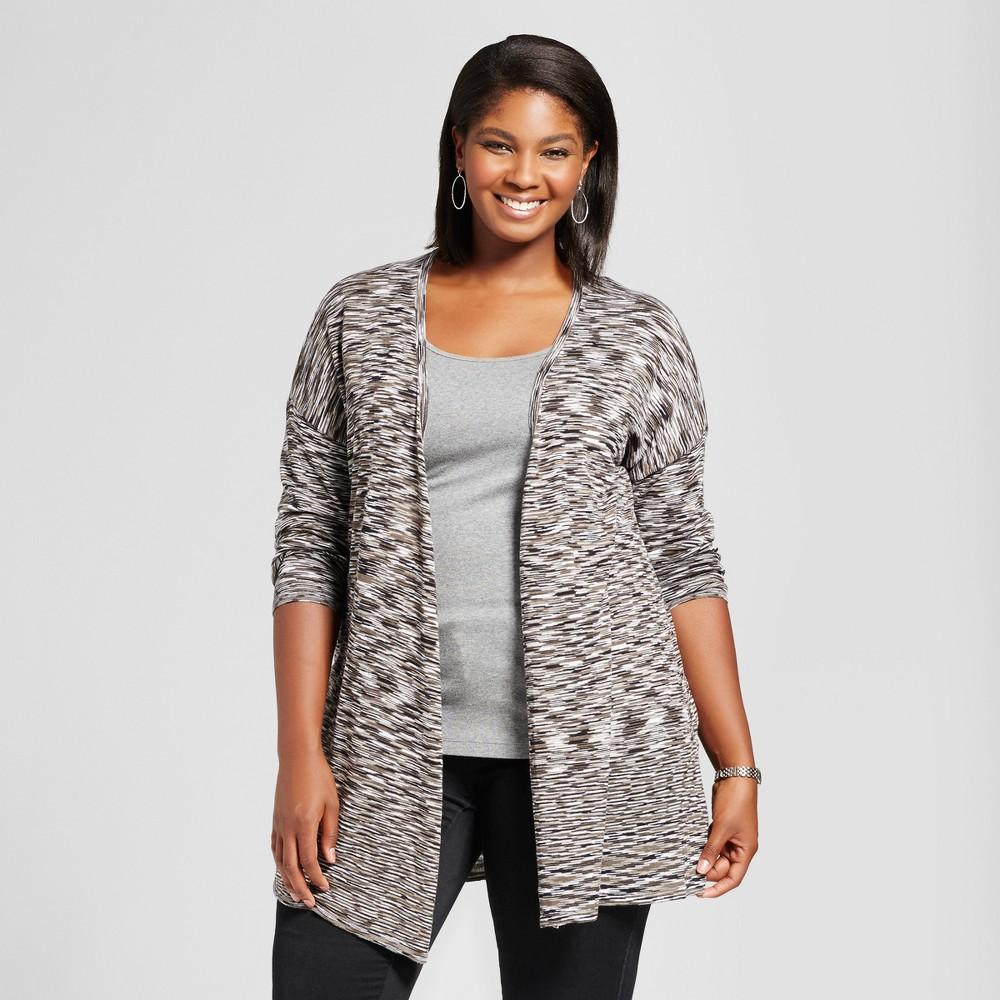 Womens Plus Size Striped Open Front Cardigan - U-Knit Gray 2X