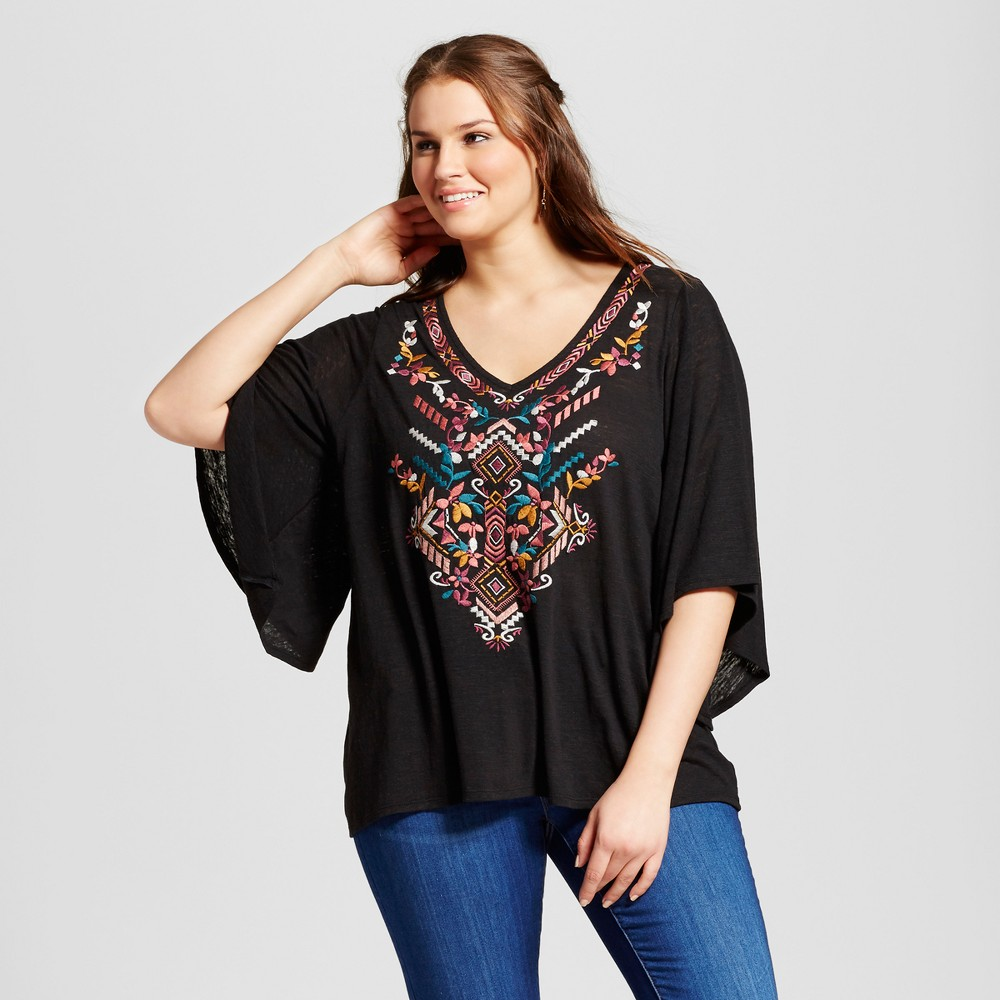 Womens Plus Size Embroidered V-Neck Blouse - Born Famous (Juniors) - Black 3X