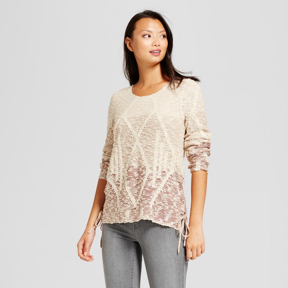 Womens Ombre Side Tie Pullover Sweater - Knox Rose Cream L, Multicolored