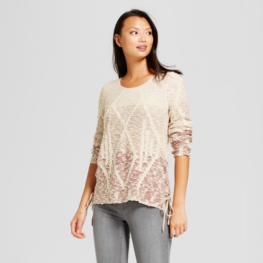 Women's Ombre Side Tie Pullover Sweater - Knox Rose™ Cream : Target